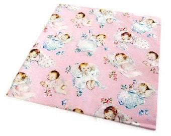 Vintage Wrapping Paper - New Baby Girl Gift Wrap - One Full Sheet - Ben Mont Papers Bennington