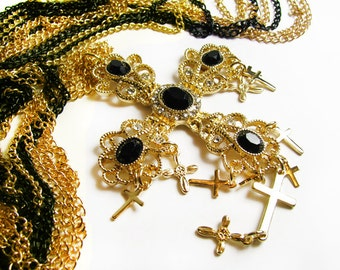 Rhinestone Gold Cross Necklace with Gold and Black Multiple Chains, Wedding. Bridal Necklace. Collier La Croix.