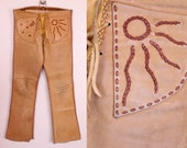 Vintage 60s - Brown Leather - Sun Moon & Stars - Lace Up - Hand Stitched - Handmade - Boho - Hippie - Festival Pants