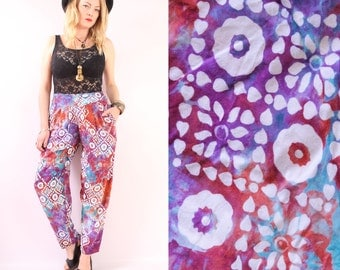 Vintage 90s - Ethnic - Rainbow Tie Dye - Floral Batik - Pleated - High Waist - Tapered - Harem Pants - Boho - Hippie