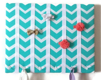 Hair Bow Holder Small-Medium-Large Turquoise /White Chevron Padded Hair Bow Organizer with Hooks for Headbands