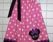 Minnie Mouse Pillowcase Dress, Minnie Mouse Dress, Monogrammed Pink and White Polka Dot Dress, Disney Vacation Dress, Size 2T to 14