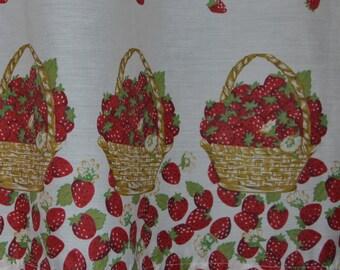 Vintage Kitchen Curtains . Strawberry Basket Design . Super Cute by  SeamsOriginal