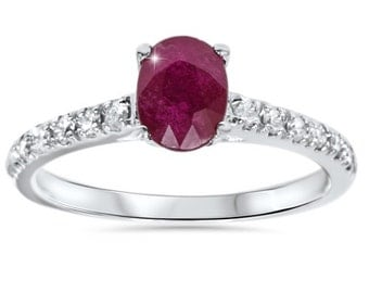1.25CT Oval Ruby & Diamond Ring 14K White Gold
