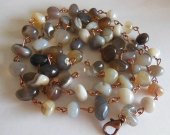 Persian Agate nuggets on Copper Necklace 710