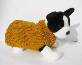 Wool dog pullover sweater mustard yellow hand knitted