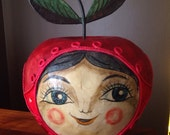 Huge Vintage Mexican DeSela Paper Mâché Happy Apple Face Bank..