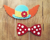 Felt Clown Hair with Hat and Bow Photo-Booth Prop| Clown Photo-Booth Props | Carnival Photo-Booth | Clown Bow Tie