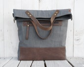 canvas bag  tote bag leather bag foldover bag crossbody bag grey two tone tote Gift for her