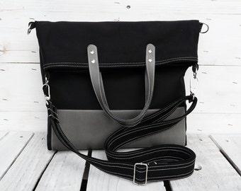Messenger tote bag, leather canvas foldover crossbody casual shoulder bag, unisex laptop macbook case, unique gift for friends