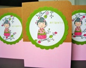 Arigato Thank You Cards Set of 4, Kokeshi Cards, Cherry Blossom Cards, Spring Thank You Cards