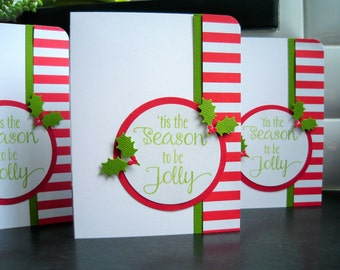 Handmade Holiday Cards Set of 3, Holly Leaves, Tis the Season to be Jolly