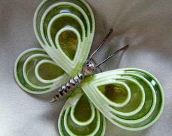 Lime Green Butterfly Brooch , 1960's Fashion Jewelry