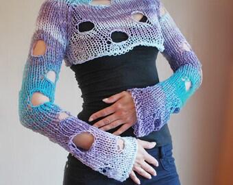 Knit Sweater, Knitted Sweater,  Knit Bolero,  Crop Sweater, Shrug, Long Sleeved Sweater,