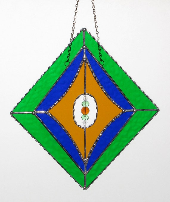 Stained Glass Suncatcher Elegant Diamond Shape Geometric