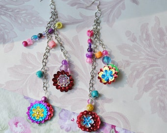 Statement Earrings Assemblage Charms Flowers