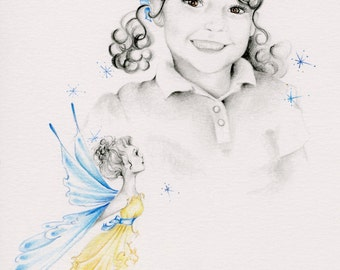 """Custom Portraits 5"""" x 7 Small Kids Portraits Hand Drawn One of a Kind Fine Art of Your Children Wall Art Pencil Portraits from Your Photo"""