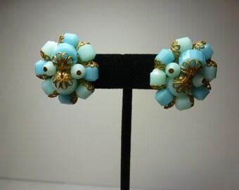 Vintage Earrings Beaded Clip On Earrings 1950s Beaded Earrings Aqua Blue Beaded Earrings