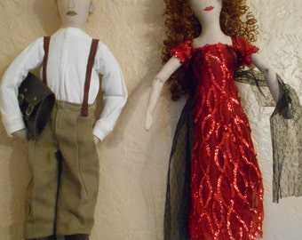 """Handmade ,One of a Kind ,Pair of Titanic """"Jack and Rose"""" Dolls"""
