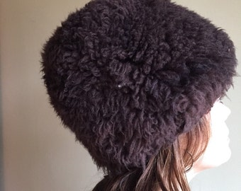 Sheepskin sherpa chocolate brown mod hat