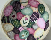 Easter Egg Bowl, Primitive Folk Art Pink Green Cream Eggs in Wood Bowl Decorated with Flowers Stripes Pastel Colors Chocolate MADE TO ORDER
