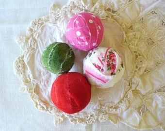 Hot Pink Green and Red Fabric Balls by WeeWoollyBurros