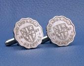 Ghana Vintage 1967 Coin Cufflinks - Shield Coat of Arms 2 1/2 Pesewas