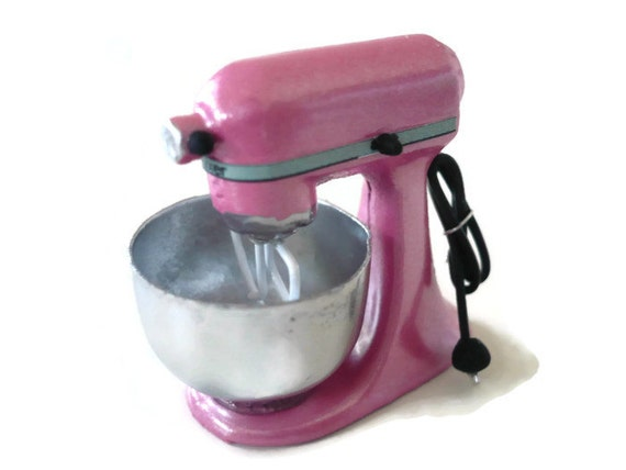 Pink Electric Mixer ~ Dollhouse miniatures pink mixer electric kitchenware bakery