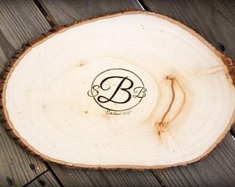 Fancy Monogram Design: Wooden Rustic Oval Guest Book. Personalized