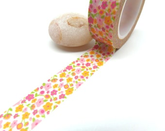Pink and Orange Flowers Washi Tape, 15mm x 10m