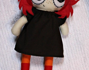 """Meet Ruby! Inspired by Ruby Gloom, 13"""" doll, handmade doll, MADE AFTER ORDER, character, pretend play"""