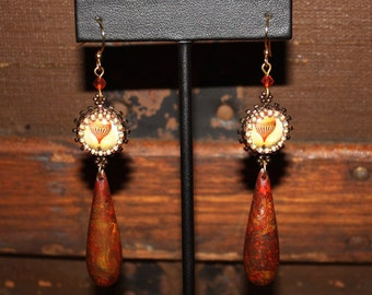 Hot Air Balloon and Vintage Lucite Earrings