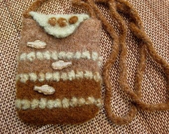 Brown and Green Knit and Felted Iphone cross body bag with fish beads