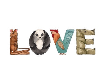 LOVE Greeting Card A to Zoo Animal Alphabet Letters