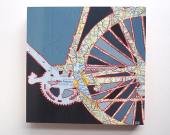 San Francisco mounted print - featuring Oakland, Berkeley, Stockton, Redwood City, Palo Alto, Sonoma, Napa bicycle art mounted to wood