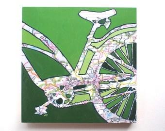 Asheville mounted print - featuring Hendersonville, Waynesville, Lake Junaluska, Blue Ridge, North Carolina bicycle mounted art print