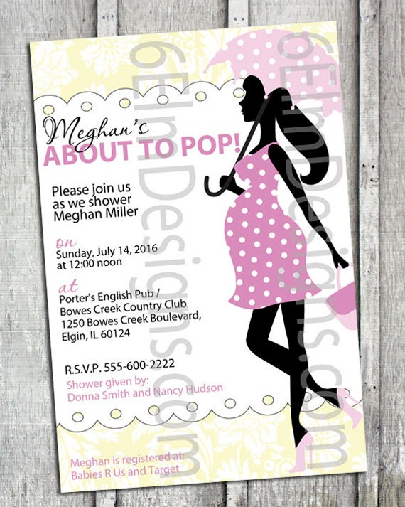 about to pop baby shower invitations digital file