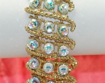 Vintage Goldplated Base Large Swarovski Aurora Borealis Globe Fully Faceted Crystal Bracelet