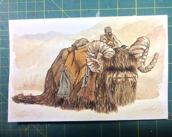 Tusken Raider riding Bantha: Original Painting, Acrylic and Watercolor