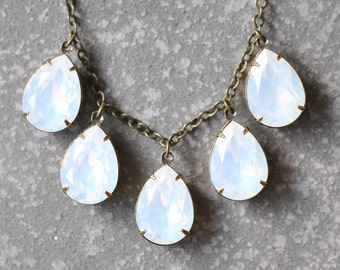 White Opal Necklace Swarovski Crystal Opal Pear Drop Necklace Statement Necklace Rhinestone Jewelry Duchess Mashugana