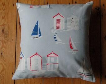 Handmade Cushion Cover Clarke and Clarke Beach Huts Fabric 16 x 16