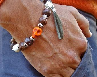 Men's Bracelet with Terracotta Jasper and Hand Carved Skull Howlite, Wood and Bone, Leather Tassel Charm, Steampunk Man Bracelet