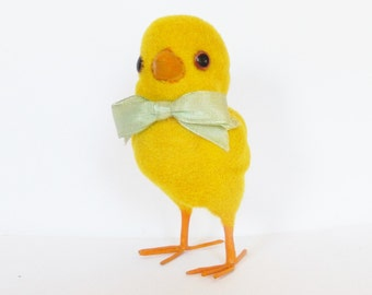 Vintage Easter chick, Yellow felt fuzzy chick with a green bow and wire legs for Easter gift, Gift basket decoration