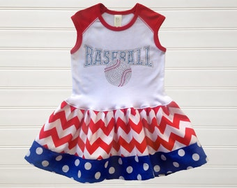 Girls Baseball Dress Baseball Sister Dress Girls Dresses Baseball Dress  Baseball Clothing Baseball Outfit