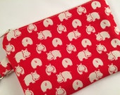 Red Hippos Small Zippered Pouch, Wallet, Coin Purse, Vegan Wallet, Phone Case, iPod Case