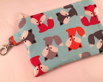 Fox Friends Small Zippered Pouch, Wallet, Notions Case, Fox Gift, Fox Bag, Fox Purse, Phone Case, iPod Case