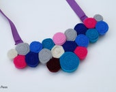 Felt Bib Necklace - Blue Turquoise Grey Pink Whote Marron Purple Violet Felt Necklace OOAK - Eco-friendly