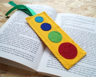 Sunny Solar System - Yellow Green Turquoise Blue Red Felt Bookmark ooak