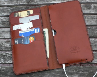 iPhone 6  Plus -  Leather Wallet, No. 75, Chestnut Brown Leather Case  - by GARNY  - al