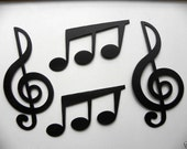 Treble Clef and Triplet Music Notes Set of 4 Metal Wall Art Home Decor
